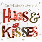 Hugs & Kisses On Valentine's Day Greeting Card