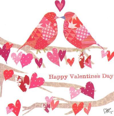Kirstie Allsopp Love Birds Happy Valentine's Day Greeting Card