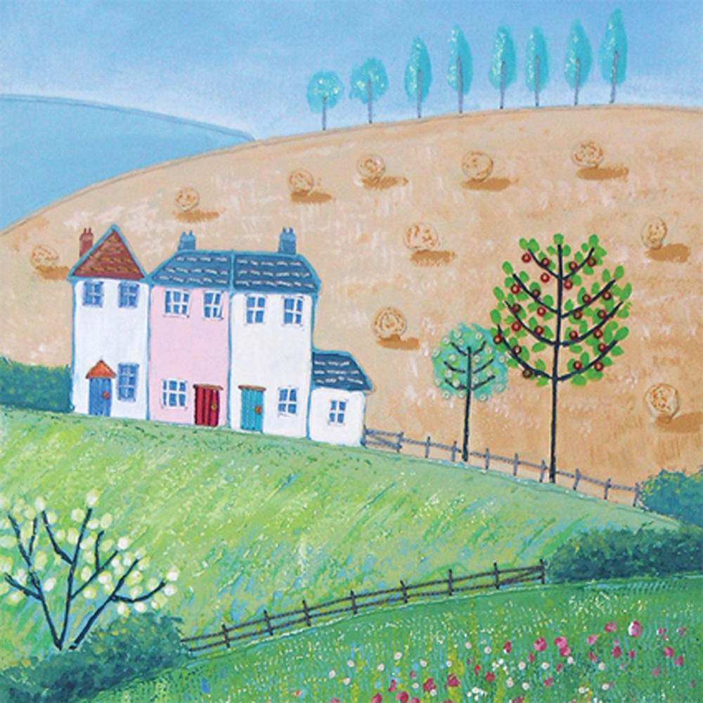 Across the Fields Square Blank Greeting Card by Artist Jo Grundy