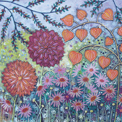 Autumn Garden Square Blank Greeting Card by Artist Jo Grundy