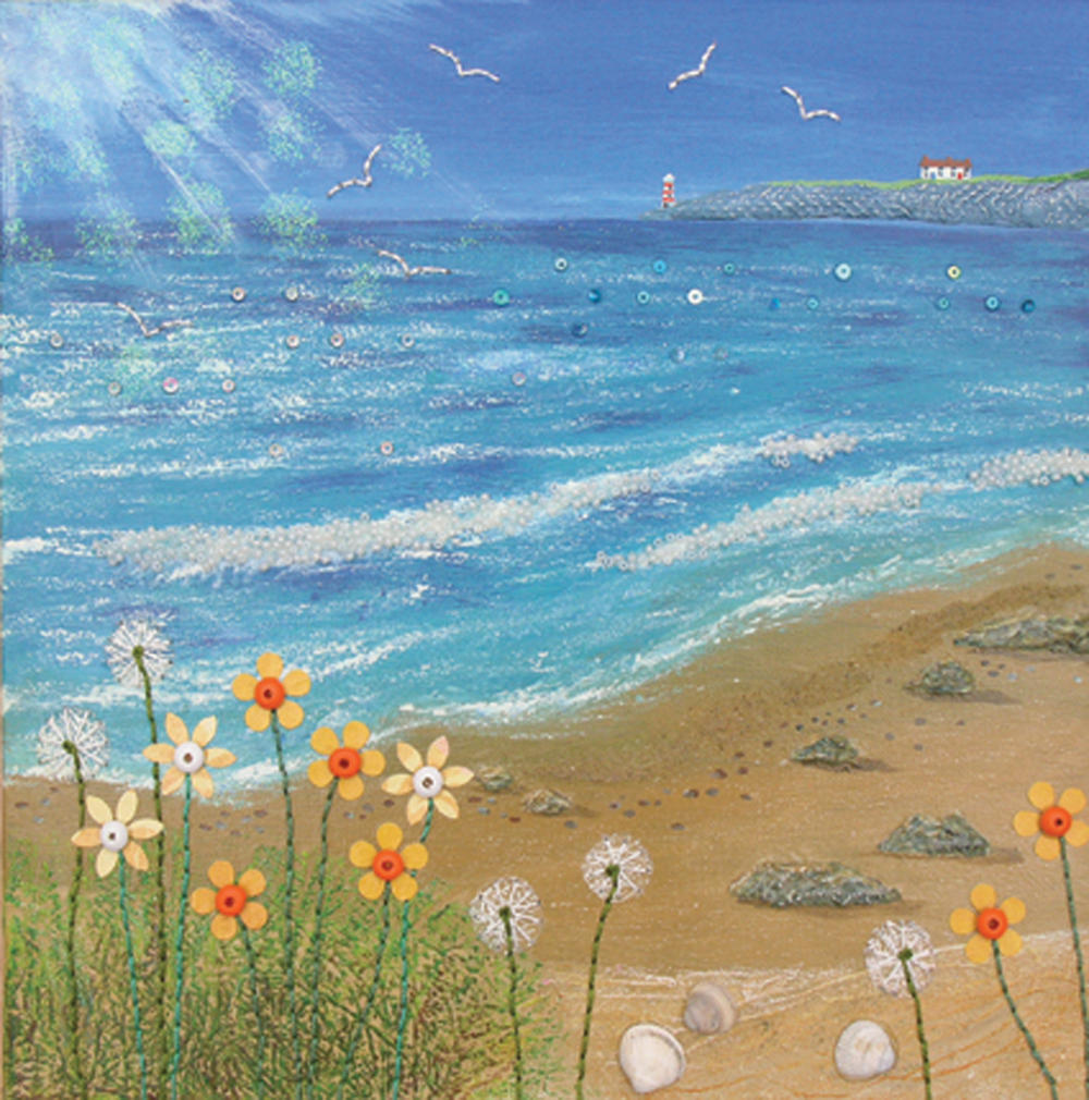 A Bright Day By The Sea Square Blank Greeting Card by Artist Jo Grundy