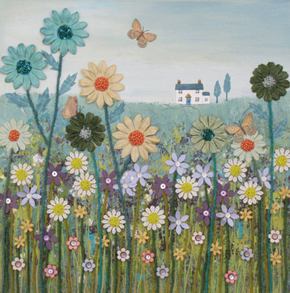 Across The Meadow Square Blank Greeting Card by Artist Jo Grundy