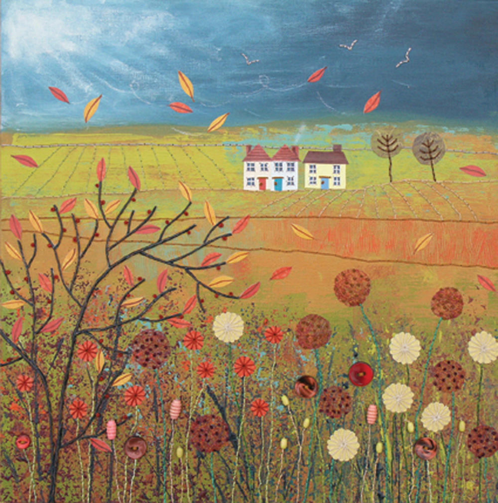 Autumn Storm Square Blank Greeting Card by Artist Jo Grundy