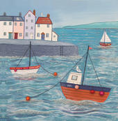 High Tide Square Blank Greeting Card by Artist Jo Grundy