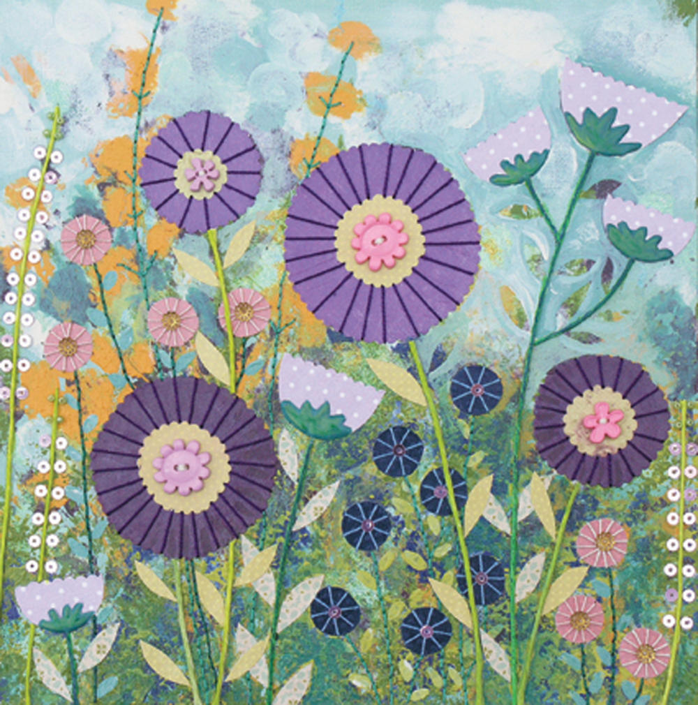 Purple Flowers Square Blank Greeting Card by Artist Jo Grundy
