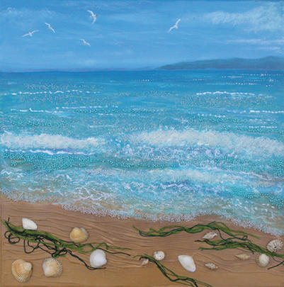 Sea Shore Square Blank Greeting Card by Artist Jo Grundy