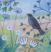 Songbird Square Blank Greeting Card by Artist Jo Grundy