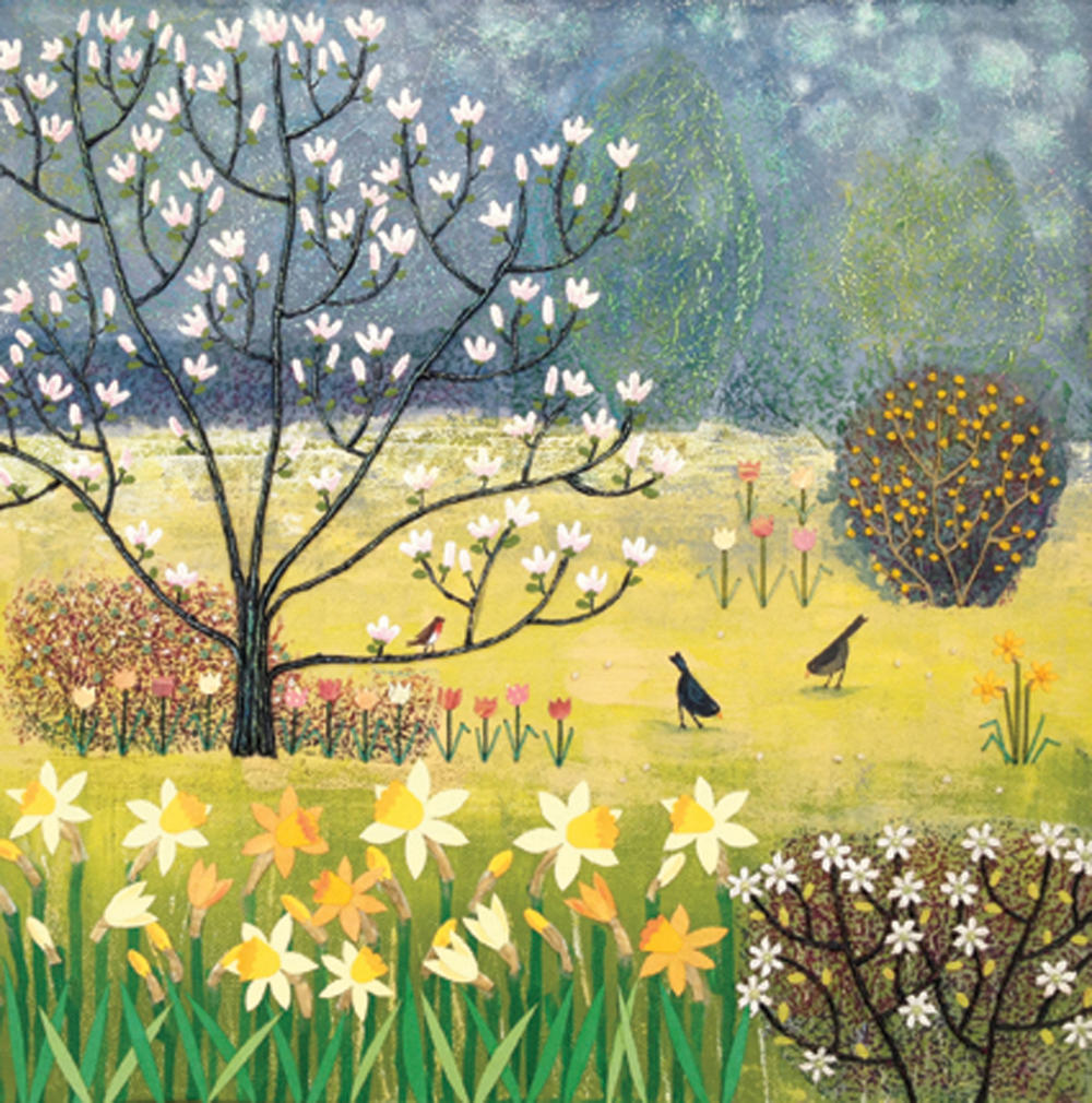 Spring Garden Square Blank Greeting Card by Artist Jo Grundy