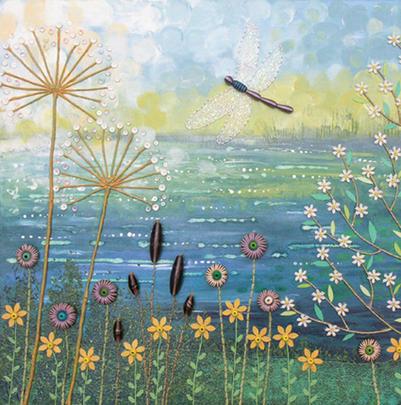Still Water Square Blank Greeting Card by Artist Jo Grundy