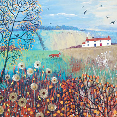 Across Autumn Fields Square Blank Greeting Card by Artist Jo Grundy