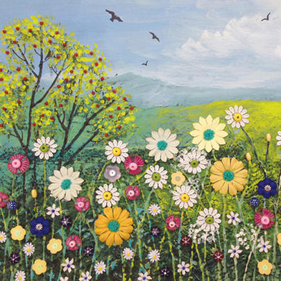 Across The Hills Square Blank Greeting Card by Artist Jo Grundy