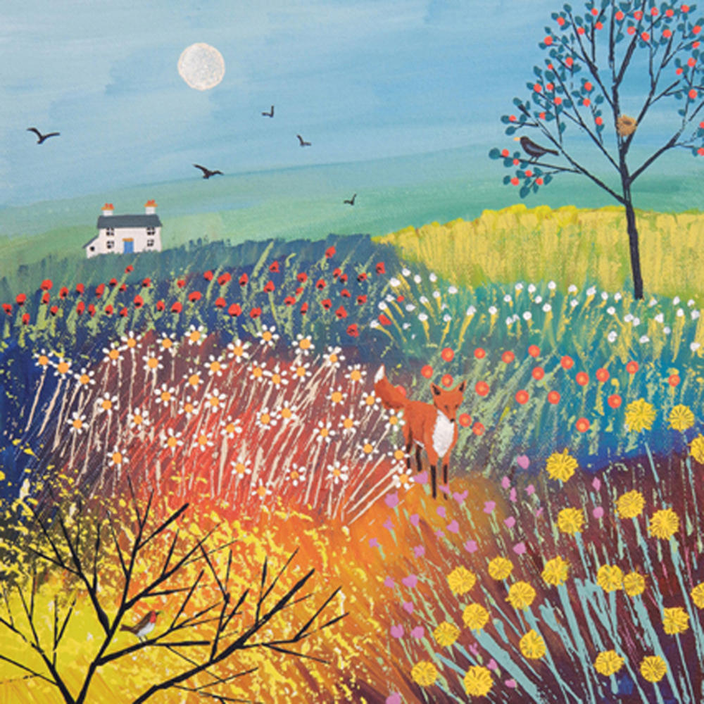 Twighlight Over Summer Meadow Greeting Card by Artist Jo Grundy
