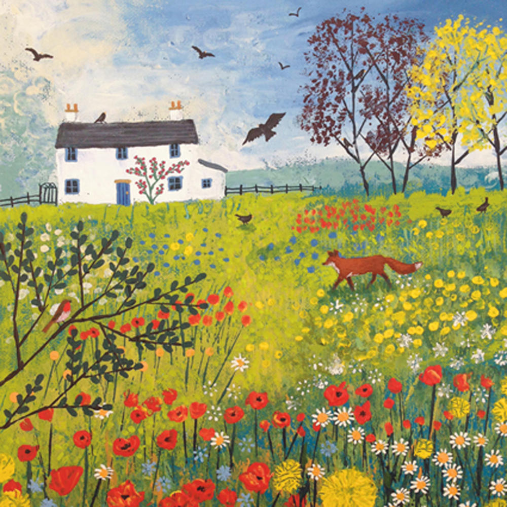 Through The Flower Meadow Square Blank Greeting Card by Artist Jo Grundy