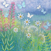 Butterfly Meadow Square Blank Greeting Card by Artist Jo Grundy