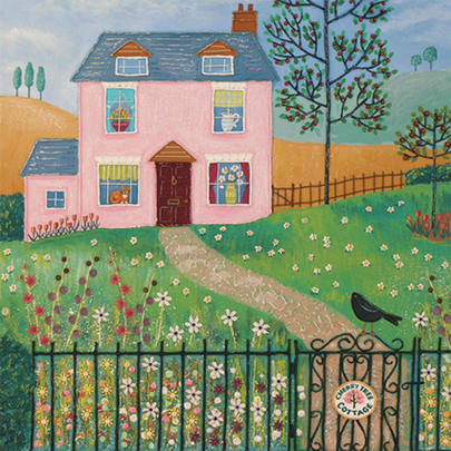 Cherry Tree Cottage Square Blank Greeting Card by Artist Jo Grundy