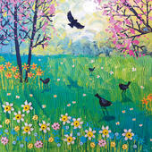Blackbirds and Blossom Square Blank Greeting Card by Artist Jo Grundy