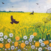 Flying Over Golden Fields Square Blank Greeting Card by Artist Jo Grundy