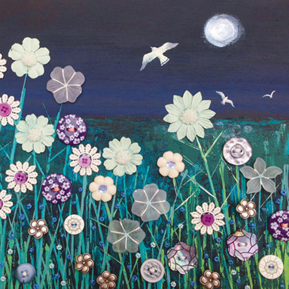 Flying Over Moonlight Square Blank Greeting Card by Artist Jo Grundy
