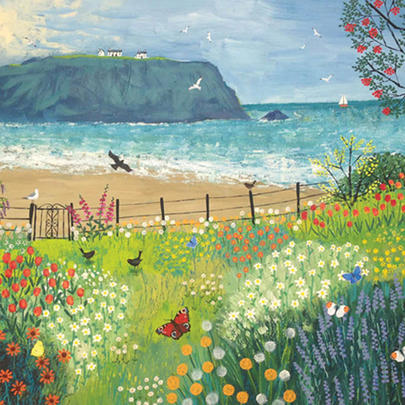 Garden Beside The Sea Square Blank Greeting Card by Artist Jo Grundy
