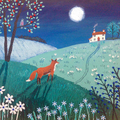On Top Of Midnight Hill Square Blank Greeting Card by Artist Jo Grundy