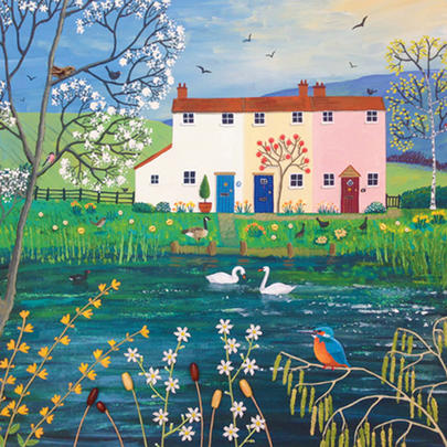 Riverside Cottages Square Blank Greeting Card by Artist Jo Grundy