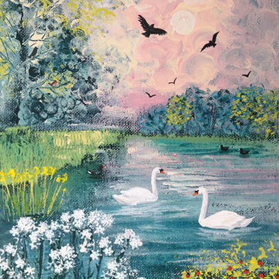 Swan Lake Square Blank Greeting Card by Artist Jo Grundy