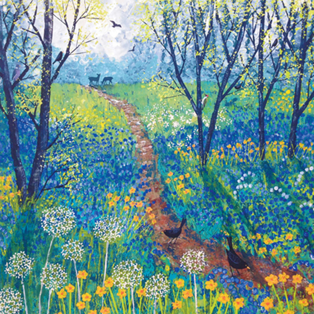 The Path Through Spring Wood Square Blank Greeting Card by Artist Jo Grundy