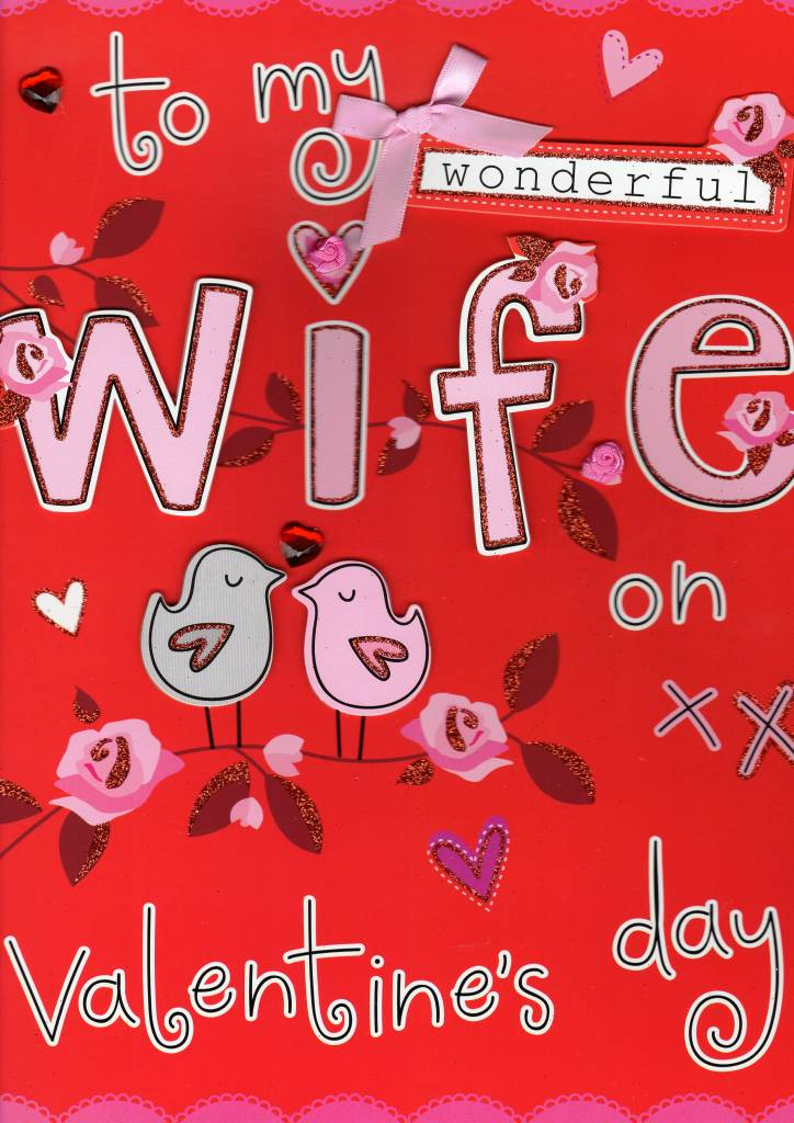 Large To My Wonderful Wife Valentines Day Card Cards – Wife Valentine Card