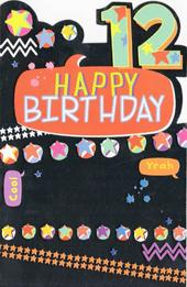 Childrens Happy 12th Birthday Greeting Card