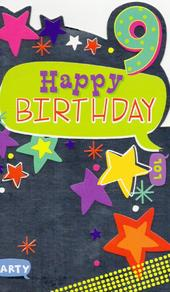 Childrens Happy 9th Birthday Greeting Card