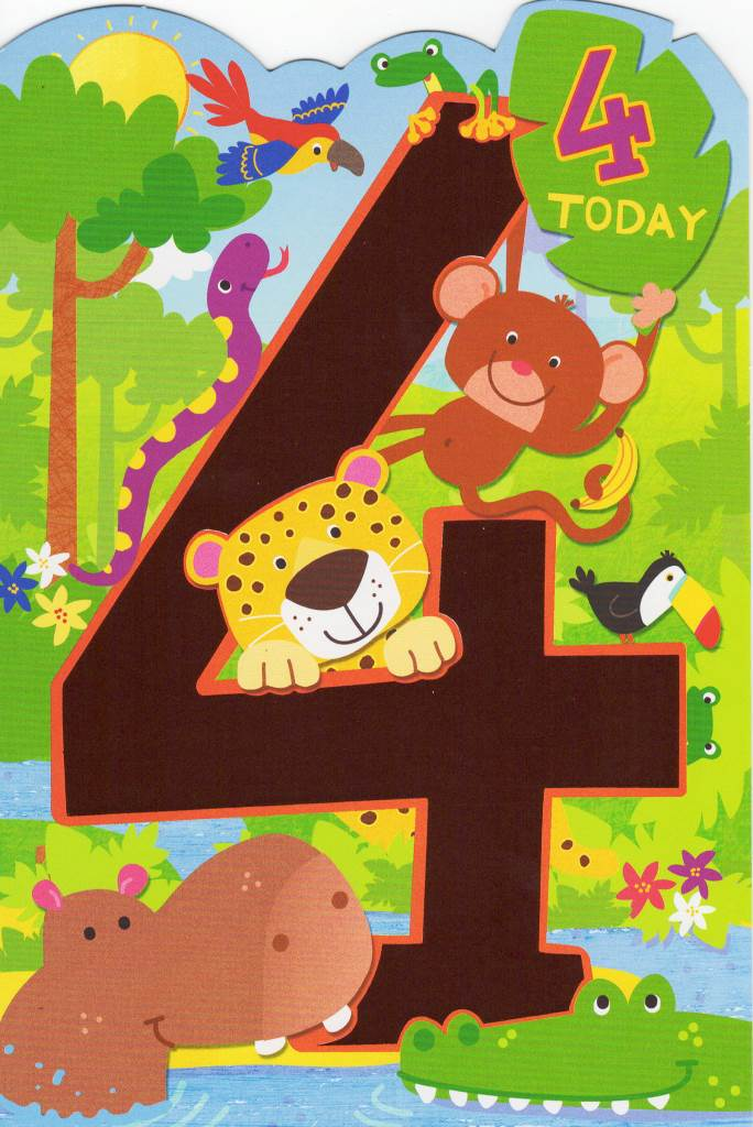 Childrens Happy 4th Birthday Greeting Card Cards Love Kates