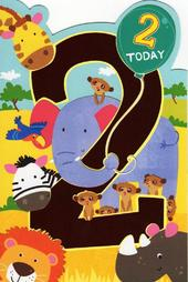Childrens Happy 2nd Birthday Greeting Card