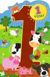Childrens Happy 1st Birthday Greeting Card