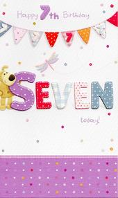 Boofle Happy 7th Birthday Greeting Card