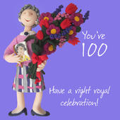 100th Birthday Female Greeting Card One Lump or Two Range