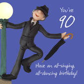 90th Birthday Male Greeting Card One Lump or Two Range