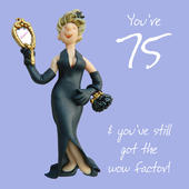 75th Birthday Female Greeting Card One Lump or Two Range