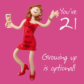 21st Birthday Female Greeting Card One Lump or Two Range