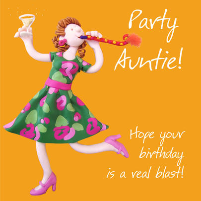 Party Auntie Birthday Greeting Card One Lump or Two