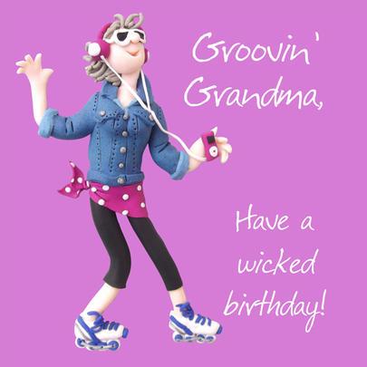 Groovin Grandma Birthday Greeting Card One Lump or Two