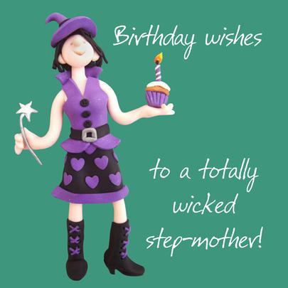Wicked Step-Mother Birthday Greeting Card One Lump or Two
