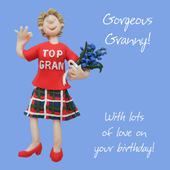 Gorgeous Granny Birthday Greeting Card One Lump or Two