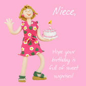 Niece Sweet Surprises Birthday Greeting Card One Lump or Two