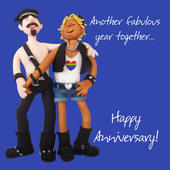Male Couple Happy Anniversary Greeting Card One Lump or Two