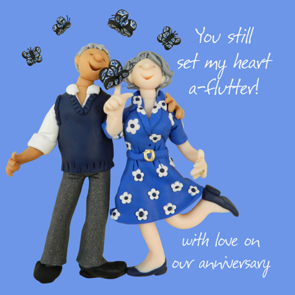 With Love On Our Anniversary Greeting Card One Lump or Two