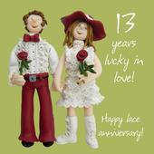Happy 13th Lace Anniversary Greeting Card One Lump or Two