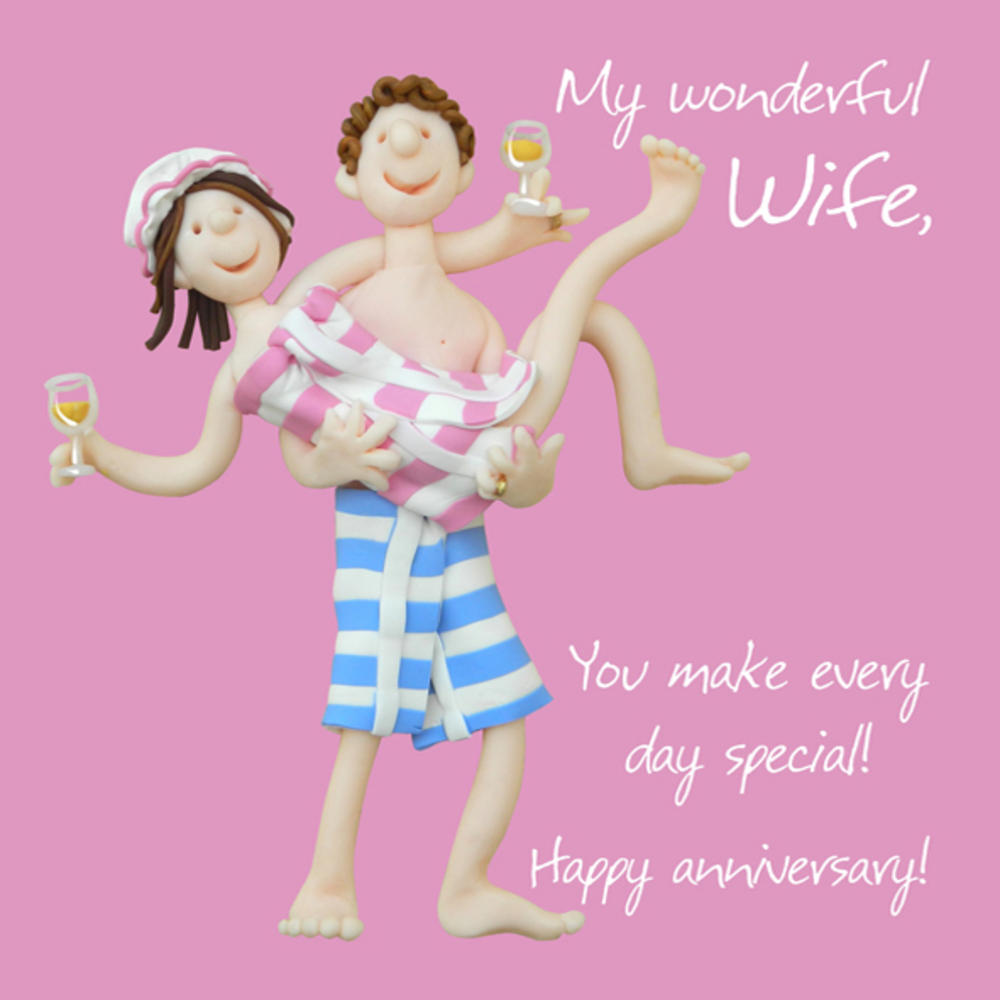 Wonderful Wife Anniversary Greeting Card One Lump or Two