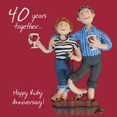 Happy 40th Ruby Anniversary Greeting Card One Lump or Two