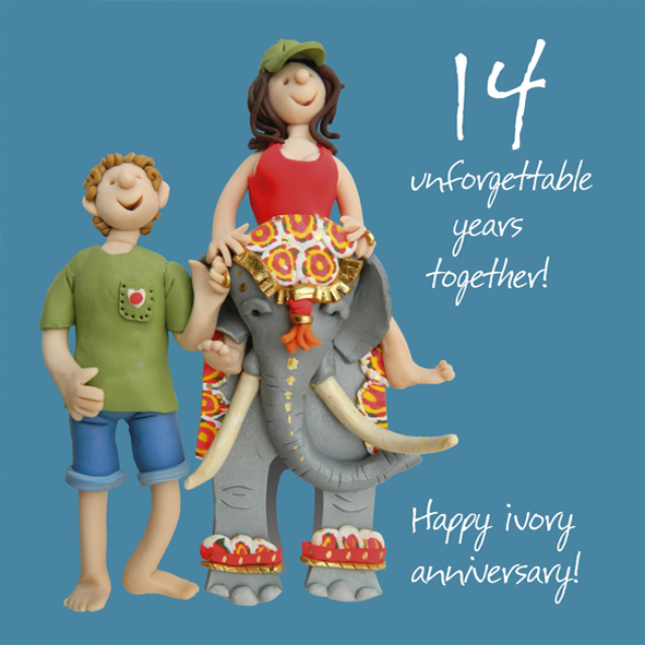 14th Year Wedding Anniversary Gift: Happy 14th Ivory Anniversary Greeting Card One Lump Or Two