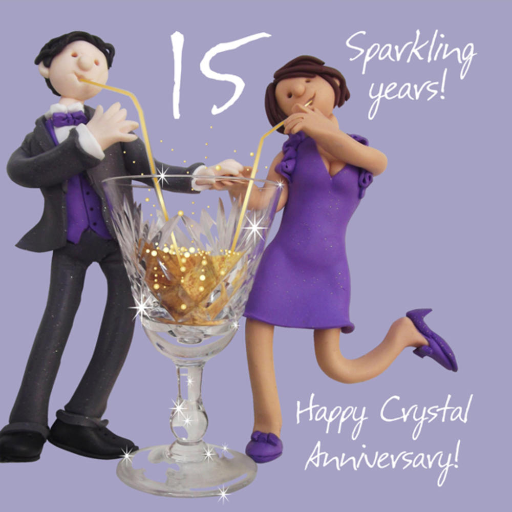 Happy 15th Crystal Anniversary Greeting Card One Lump or Two